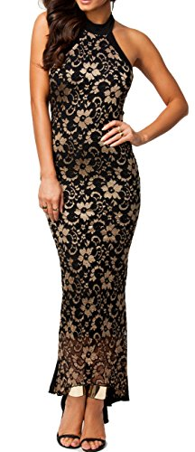 made2envy Halter Lace Mermaid Style Long Evening Dres (L, Black/Gold) C6241L