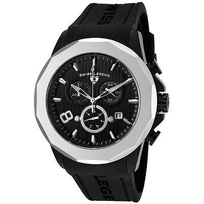New Swiss Legend Men's Monte Carlo Black Dial Black Silicone Chrono Watch (Chrono Single Watch)