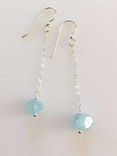 Natural Gold Nugget Ring (Raw Aquamarine Dangle Earrings, Pale Blue Natural Aquamarine Gemstones, March Birthstone, Delicate Drop Earrings, Sterling Silver, 14 K Gold Fill.)