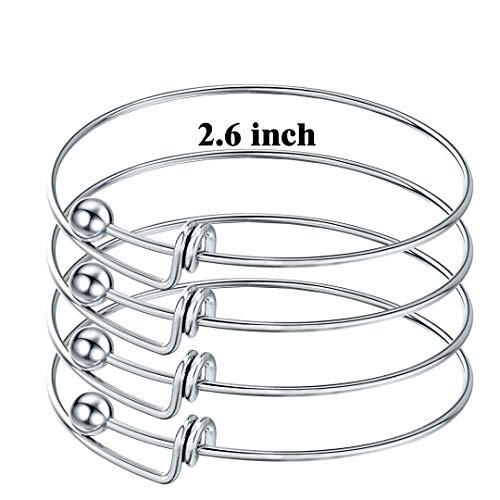 Sromay 8 Pieces Ball Closure Expandable Stainless Steel Wire Bangle Bracelet Blanks for DIY Jewelry Making, 2.6 Inches