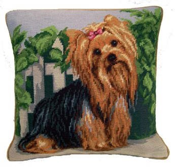 Yorkshire Terrier Portrait Needlepoint Pillow