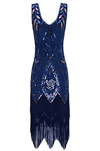 Metme Women's 1920s Vintage Flapper Fringe Beaded Great Gatsby Party Dress,Navy,X-Small -