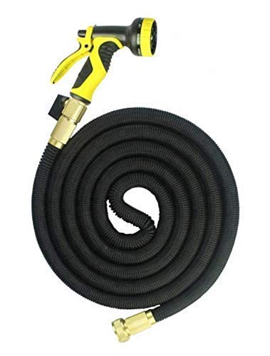 BTJ Living GardenMore Expandable Heavy Duty Garden Hose 100 Foot Kink Free – Solid Brass connectors Extra washers Includes Multifunction Spray Nozzle and Shut Off Valve – Lightweight Under 4 lb