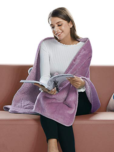 (BARGOOS Thick Wearable Blanket Warm Throw Wrap Shawls with Pockets Fleece Flannel Sherpa Plush for Women and Men Pink Large 79