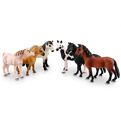 """TOYMANY 6PCS 5"""" Realistic Plastic Horse Figurines Set, Detailed Textures Foal Pony Animal Toy Figures, Christmas Birthday Gift Decoration for Kids Toddlers Children"""
