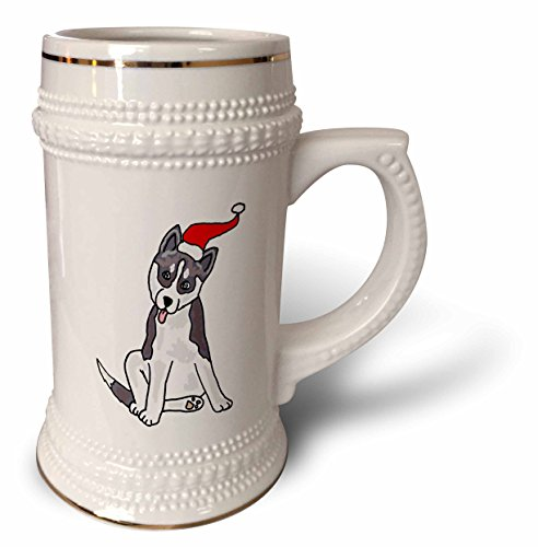 (3dRose All Smiles Art Christmas - Funny Grey Siberian Husky Dog in Santa Hat Christmas Art - 22oz Stein Mug (stn_220501_1))