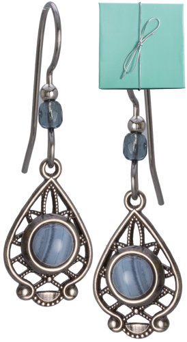 - Silver-tone Blue Filigree Lace Agate Drop Earrings & Bead on Surgical Steel Ear Wires Silver Forest