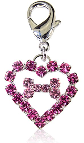 Buddy G's Heart Pink Austrian Crystal Medium Dog Collar ()