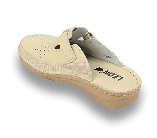 Donna V261 LEON Beige Pantofole Zoccoli Pelle Scarpe Sabot H8SOT