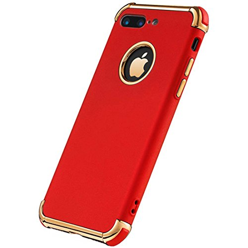 iPhone 7 Plus Case, Ultra Slim Flexible iPhone 7 Plus Matte Case, Styles 3 in 1 Electroplated Shockproof Luxury Cover Case iPhone 7 Plus (RED)