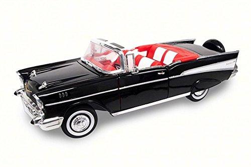 Road Signature 92108 1957 Chevrolet Bel Air Convertible Black 1/18 Diecast Model Car
