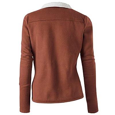 Doublju Fleece Zip-Up High Neck Jacket for Women with Plus Size: Clothing