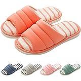 Shevalues Women's Memory Foam Slippers Cotton SPA Slippers Winter Warm Open Toe House Slippers Orange 26