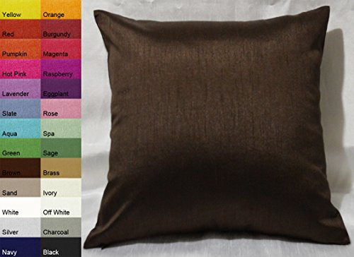 Creative Faux Silk Solid Euro Sham / Pillow Cover 26 by 26 - Brown - Euro Shams Covers