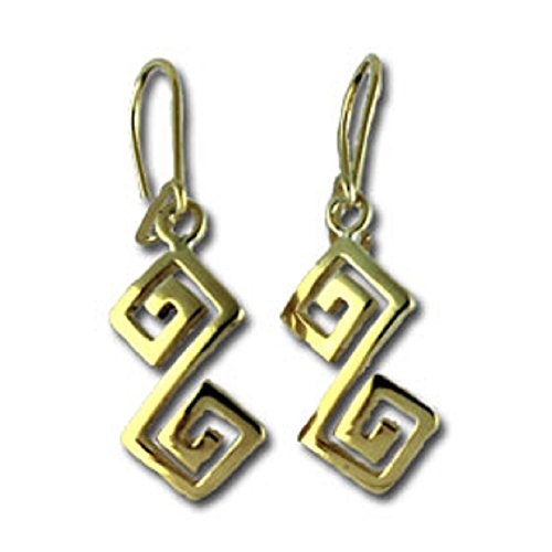Ancient Greek 24K Gold Plated Sterling Silver Hook Earrings - Handcrafted Double Greek Key Motif Links (38mm), Made In Greece