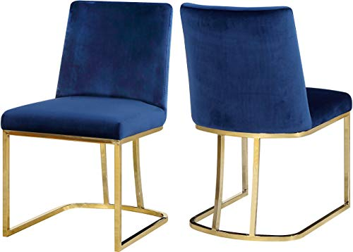 (Meridian Furniture 776Navy-C Heidi Collection Navy Modern | Contemporary Velvet Upholstered Dining Chair with Polished Gold Metal Frame, 19
