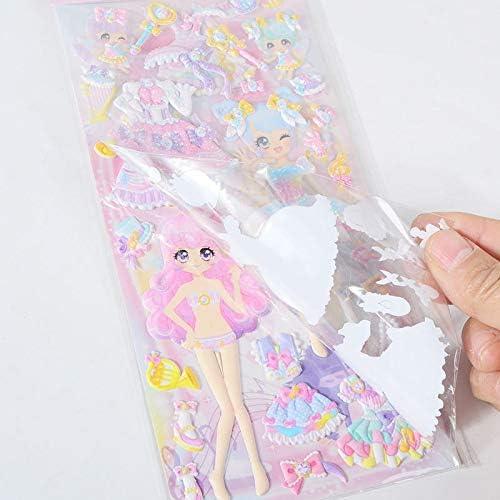 BLOUR 8 Fogli Adesivi Kawaii Sticker Book Laptop Dress up Lovely Girls 3D Stickers Kids Toys pegatinas for Children Girl Gifts
