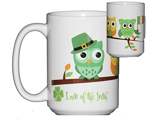 St Patricks Day Coffee Mug Hostess Gift Adorable Cartoon Owls on a Tree Branch