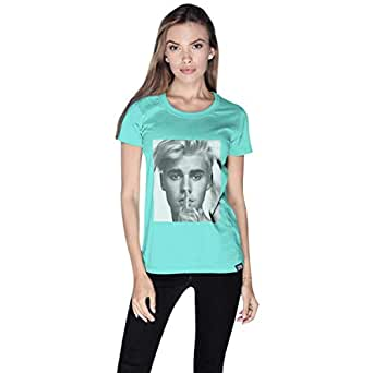 Creo Green Cotton Round Neck T-Shirt For Women