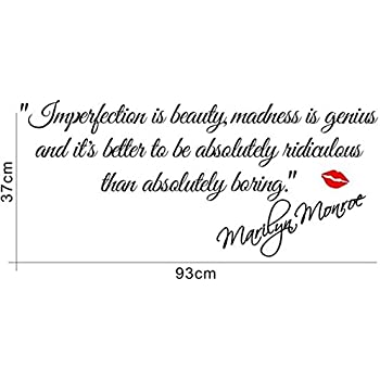 Decalgeek DG MIIB 1 Imperfection Is Beauty Marilyn Monroe Wall Sticker  Quote Decal Art Décor