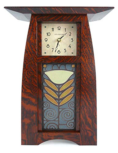 American Made Arts and Crafts Style Mantel/Shelf Clock with Poppy Tile, Dark Oak Finish, 14.5