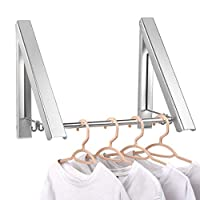 Laundry Clothes Hanger - Aluminium Foldable & Retractable Clothes Racks - Waterproof Indoor Outdoor Wall Mounted Clothes Drying Rack - Home Storage Organization Space Savers for Living Room, Bathroom,