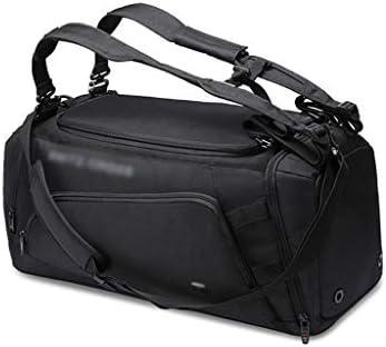 ドライとウェットの分離アウトドアトラベルバッグポータブルメンズスポーツトレーニングジムバッグ大容量ダッフルバッグ独立した靴ポジションブラック、グレー HMMSP (Color : Black)