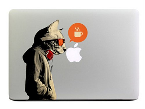 """Hot Fashion Cool cat wearing glasses Macbook Decal Skin Stickers Mac Cover Decal for Apple Macbook 15 Inch/Vinyl Decal Sticker Skin for Apple Macbook Pro Air Mac 15""""/15 Inch Laptop"""