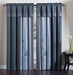 Chezmoi Collection 4-Piece Embroidered Floral Window Curtain Set with Tassels, Gray Blue