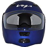 Vega Boolean Dull Flip-up Helmet with Double Visor (Metallic Blue)