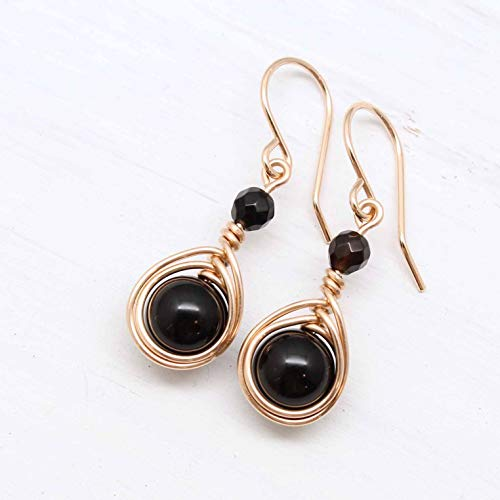 ire Wrapped Earrings with Black Onyx gemstones ()