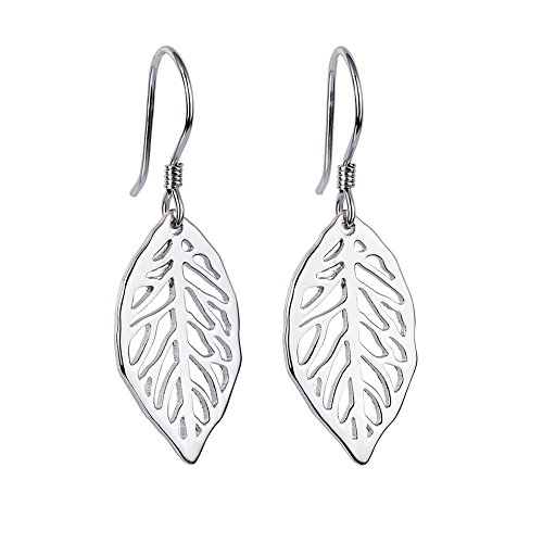 (S925 Sterling Silver Filigree Dangle Leaf Earrings for Women)