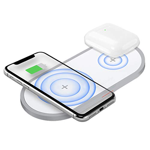 AUDON Dual Wireless Charger, Double Qi Fast Wireless Charging Pad for Airpods 2,iPhone X, XS, XS Max, XR, iPhone 8/8 Plus, Samsung Galaxy S10/S10+/Note 9/S9/S9 Plus/Note 8/Galaxy Buds