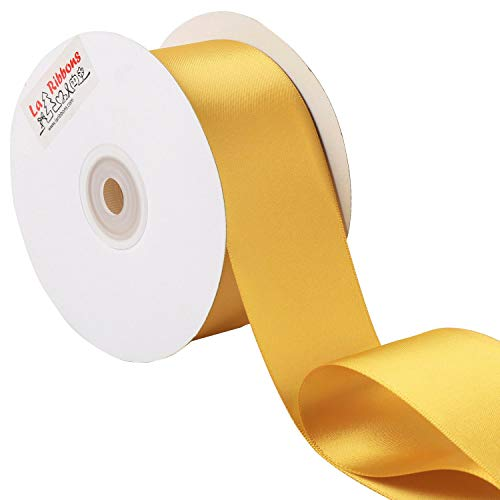 Laribbons 2 inch Wide Double Face Satin Ribbon - 25 Yard (690-Old Gold)