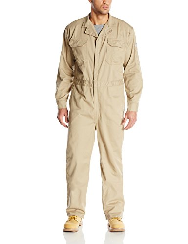 Bulwark Men's Flame Resistant 9 oz Twill Cotton Deluxe Coverall with Concealed Snap Cuff, Khaki 46 Long