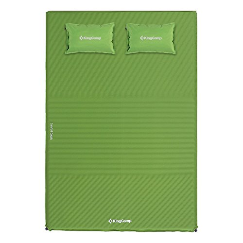 KingCamp Double Sleeping Pad Mat Mattress – Self Inflating Pads Triple Zone with 2 Pillows Mats – Suitable for Camping Traveling Hiking Outdoor Activities