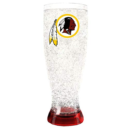 Duck House 1 Pc, Washington Redskins Pilsner Crystal Freezer Style,16oz, Plastic Glass, Eye Catching Crystals, Color Coordinating Base