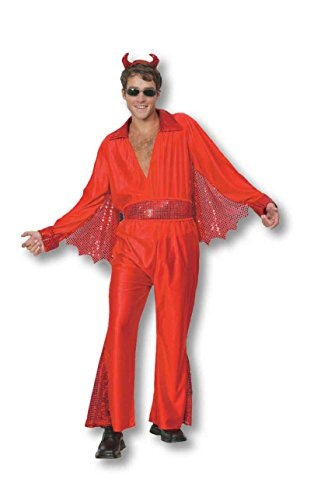 Mens Halloween Hellvis Costume Onesize (Chest 4-10) (Onesize (Chest 4-12), Red)