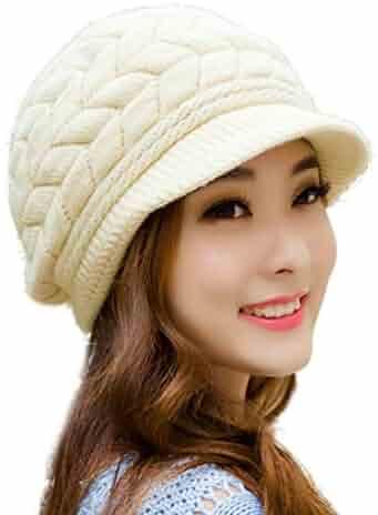 edb5a1d4433f HINDAWI Winter Hats for Women Girls Warm Wool Knit Snow Ski Skull Cap with  Visor