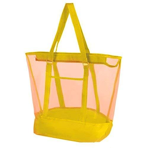 (Vlish Yellow Mesh Beach Bags 21