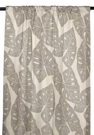 RSH Décor Sunbrella Indoor/Outdoor Curtain Drapery Panel with Rod-Pocket (Sunbrella Radiant Silver Grey/Grey Tropical Leaves, 50