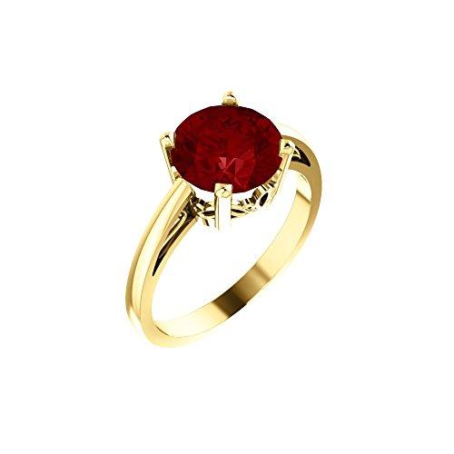 - Bonyak Jewelry Lab-Created Ruby 14k Yellow Gold Chatham Created Ruby Ring - Size 7