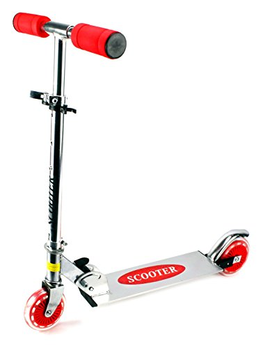 Velocity Toys Kick Riders Aluminum Children s Two Wheeled Metal Toy Kick Scooter, Adjustable Handlebar Height Red