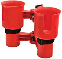RoboCup RED Patented Portable Caddy Caddie Tote, Organizer, Clampable Clip On Holder for Two Drinks, Cups, Bottles, Liquids, Rods, Drum Sticks, Tools and more| No tools required, clamps to both round and flat surfaces |perfect as a fishing rod holder, boa