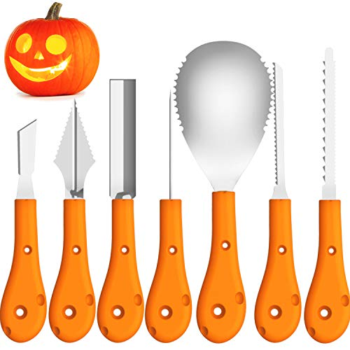 Pumpkin Carving Kit ,QcoQce Halloween Professional Stainless Steel Pumpkin Carving Tools Set With Carrying Bag For Sculpt Jack-O-LanternsDecorations (7 Pcs )