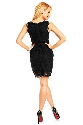 bb5ad464b0e7 ... Mayaadi Spitzenkleid Ballkleid Abendkleid Partykleid Festkleid  Cocktailkleid Blumenmuster HS-311 Schwarz cgazsupt