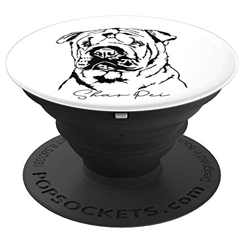 Funny Beautiful Chinese Shar Pei dog portrait gift present PopSockets Grip and Stand for Phones and Tablets