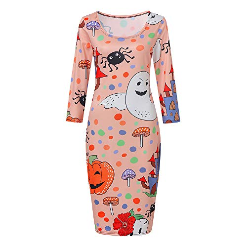TWGONE Womens Dresses Halloween Printing Round Neck Printed Pink Pumpkin Polyester Long Tops (US-8/CN-2XL,Pink)