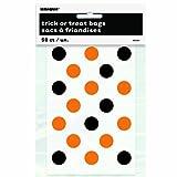 Orange & Black Polka Dot Halloween Treat Bags, 50ct