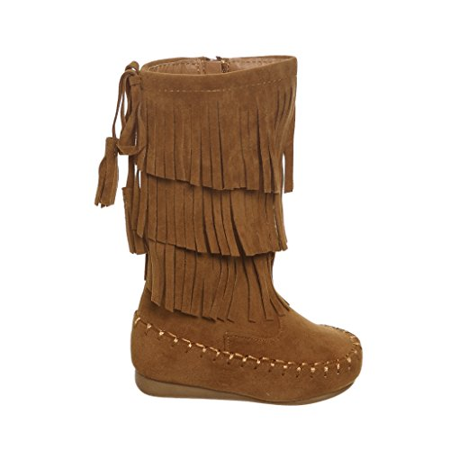 Toddlers Mid Calf Layer Fringe Boots (5, tan) [Apparel] (Five Layer Fringe)